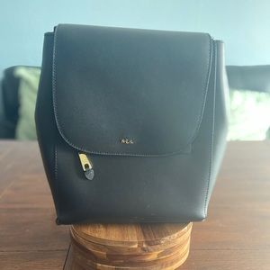 Black leather Ralph Lauren book bag